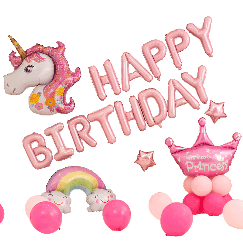 Image 3 - Unicorn Party Balloons Happy Birthday Party Air Ball Package Baby Shower 1st Birthday Decoration Girl Boy Letter Balloon-in Party DIY Decorations from Home & Garden