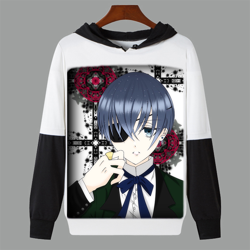 Spring Autumn Long Sleeve Anime Kuroshitsuji Black Butler Cosplay Thin Hooded Sweatshirt Student Pullover Tops Customize
