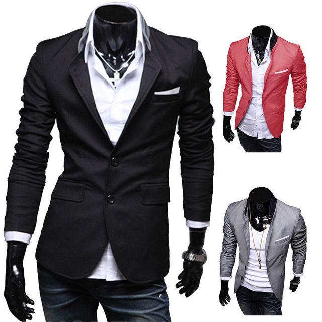 IMC New Stylish Men's Casual Slim Fit Two Button Suit Blazer Coat Leisure Jacket Tops 3 Colors US size XS-L