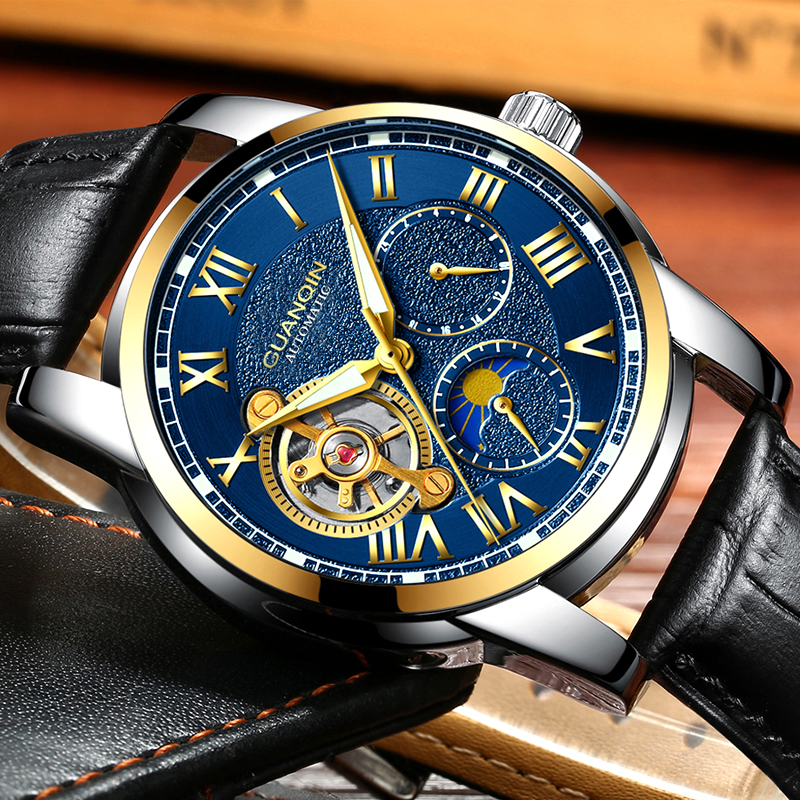 Tourbillon Skeleton Sport Leather Waterproof Automatic Mechanical Wrist Watch