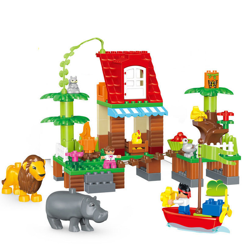 86pcs Large Size Diy Jungle Villa Animal Lion Squirrel Building Blocks Compatible With L Brand Bricks Duplo Toys For Children kid s home toys large particles circus show animal paradise building blocks large size 39pcs diy brick toy compatible with duplo