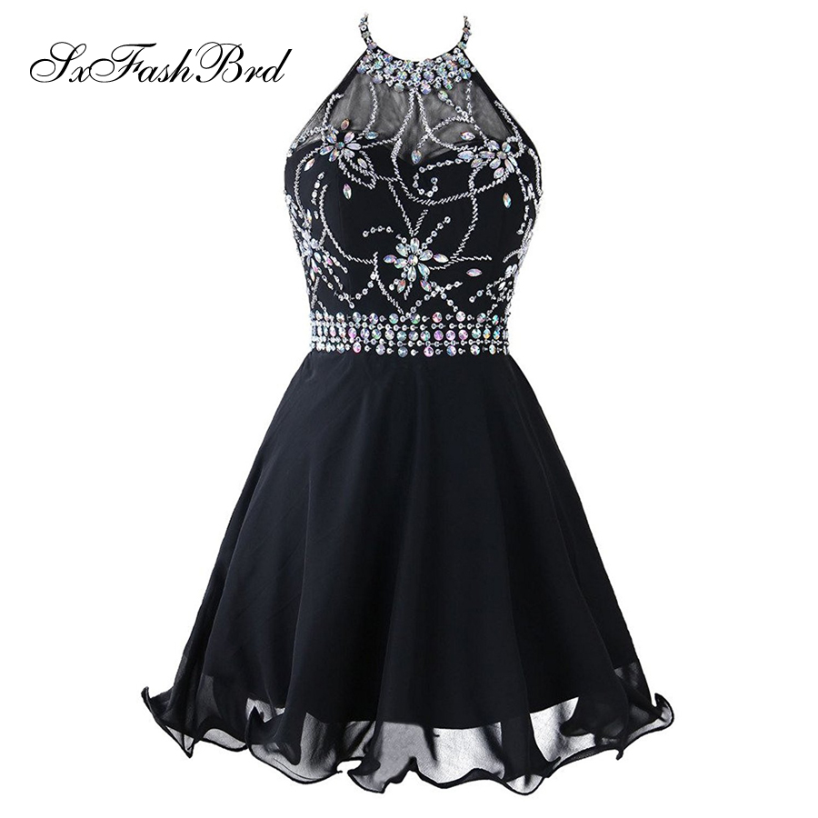 Vestido De Festa Halter Neck With Beading Open Back Mini Short Formal Party   Cocktail     Dresses   Gowns Robe De Soiree Longue 2017