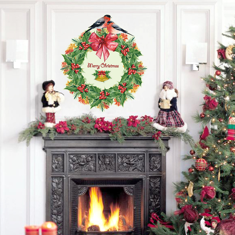 Christmas Decorations For Home Windows: Christmas Decoration Christmas Wreath Wall Sticker Living