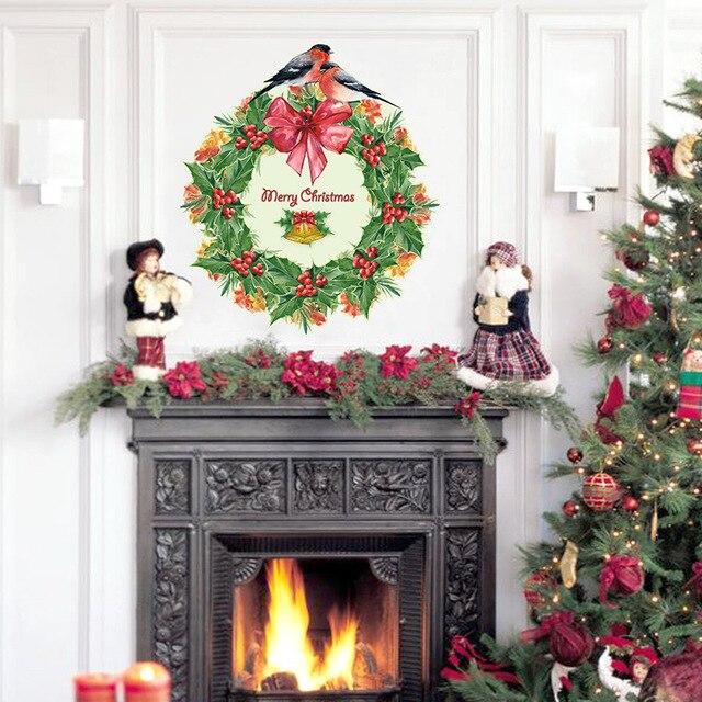 Beautiful Christmas Decoration Christmas Wreath Wall Sticker Living Room Entrance  Room Windows And Doors DIY Home Decor