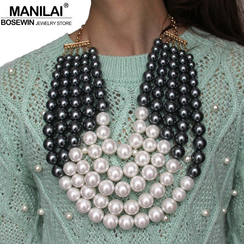 все цены на MANILAI Bohemia Imitation Pearl Statement Pendants Necklaces Fashion Jewelry Chunky Layered Beaded Necklaces For Women Dress