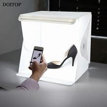 DOITOP 40cm 16″ Folding Light Room Softbox Photo Studio Photography Lighting Tent Kit Backdrop CubeBox Photo Studio Box with LED
