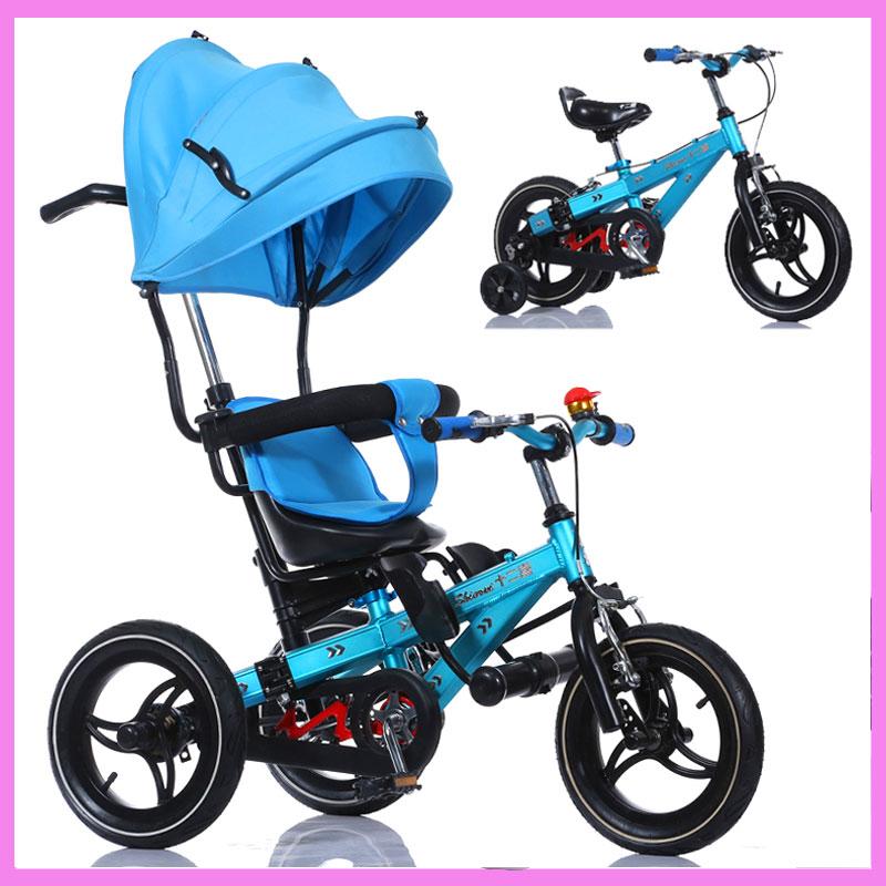 5 In 1 Deformable Multifunctional Tricycle Baby Bike Stroller Pedal Bicycle Baby Trolley Pram Buggy Adjustable Folding Pushchair