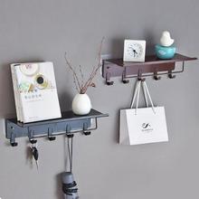 1pcs Retro Iron Storage Rack Kitchen Bathroom Wall Mounted Shelf Organizer With Hanging Hook Home Decoration