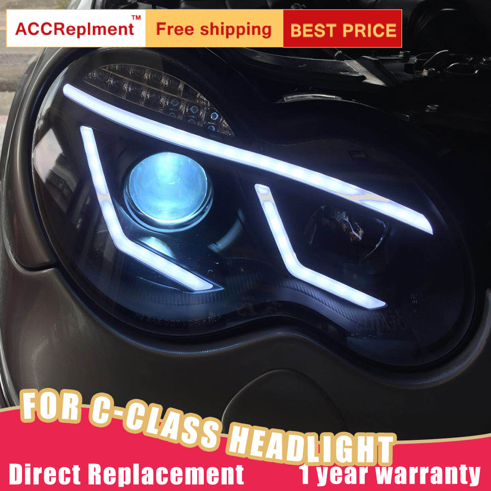 W203 2Pcs LED Faróis Para Benz Classe C-2001-2007 luzes led carro Angel eyes xenon HID KIT luzes de Nevoeiro LEVOU Luz de Circulação Diurna