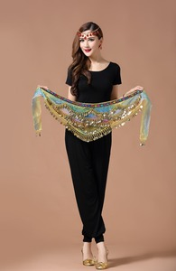 Image 4 - New style belly dance belt newest multi color glass silk belly dancing belt scarf crystal  bellydance waist chain hip scarf