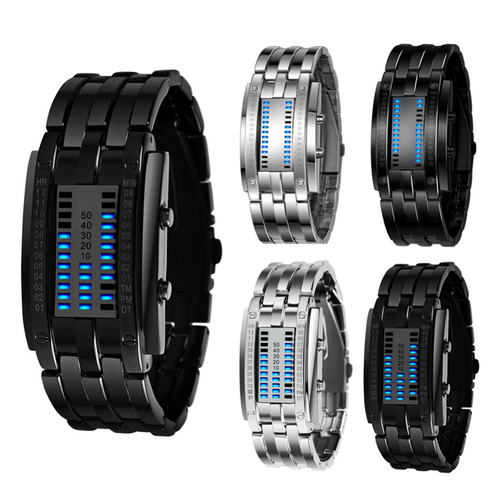 Sport Watches Binary Electronic-Display Stainless-Steel Luminous Women Fashion Blue LED
