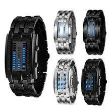 Роскошные часы для влюбленных мужчин и женщин из нержавеющей стали синий бинарный световой светодиодный электронный дисплей спортивные часы Мода