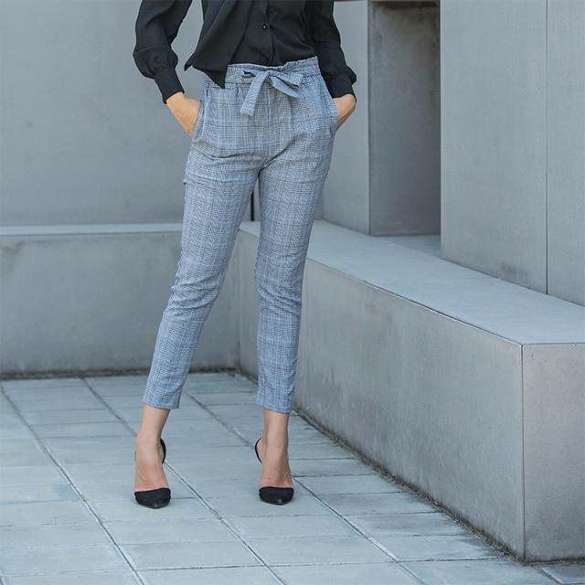 c03ad7a19ea women high waist pants plus size clothing streetwear plaid pencil pants  autumn hippie trousers checkered pants checkered 81221