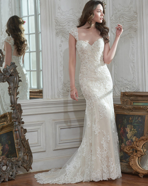 Amdml Classic Lace Tulle Sheath Wedding Dresses Shimmering Beads Sweetheart Neckline Stunning Detachable Cap-Sleeve Bridal Gowns