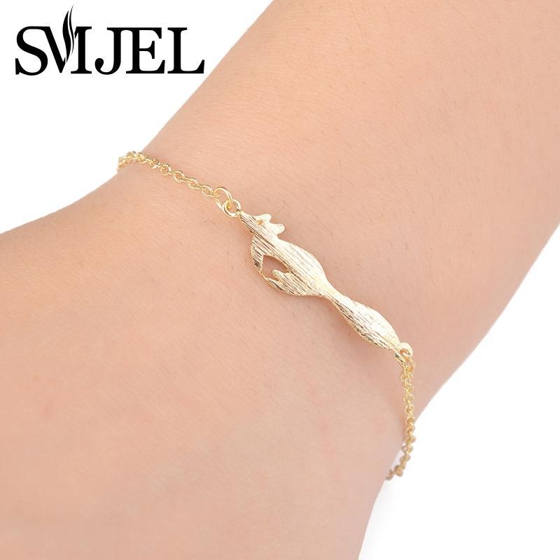 SMJEL 2017 Fashion Cute Fox Bracelets for Women Vivid Running Animal Men Bracelets Girl Jewelry Party Gifts B028