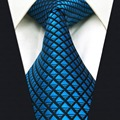 B25 Blue Solid Silk Mens Necktie Tie Fashion Wedding Ties for male Novelty extra long size Hanky