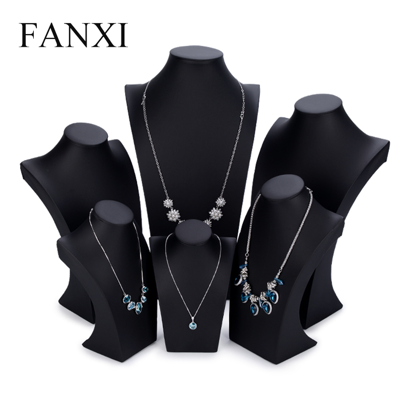 FANXI Elegant Black PU leather Mannequin Display Stand for Pendant Necklace Holder Necklaces Bust Display Jewelry Organizer title=