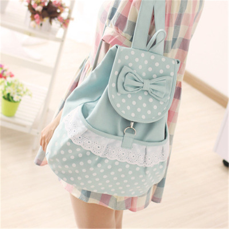 Girls Backpack Polka-Dots Schoolbag Preppy-Style Korean-Fashion Sweet Lace No for Bowknot