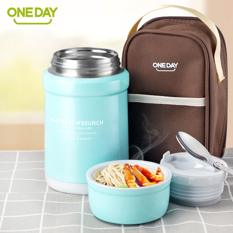 oneday thermos food container vacuum flask soup food thermos bottle with thermo bag soup pot. Black Bedroom Furniture Sets. Home Design Ideas