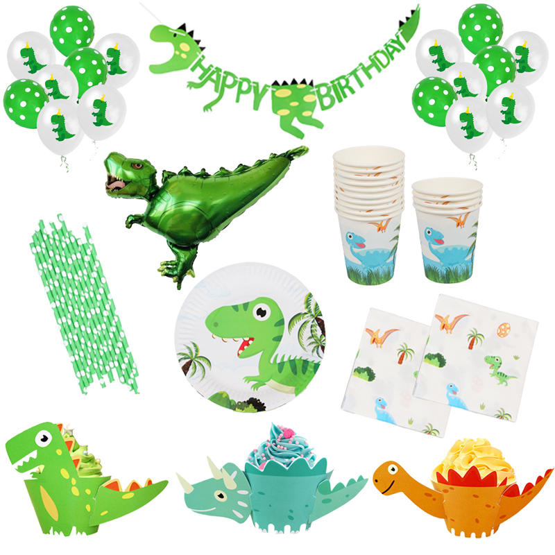 Cartoon Dinosaur Theme Party Paper Plate/cup/napkin/banner Straw Tablecloth Kids Boys Birthday Party Decor Disposable Tableware