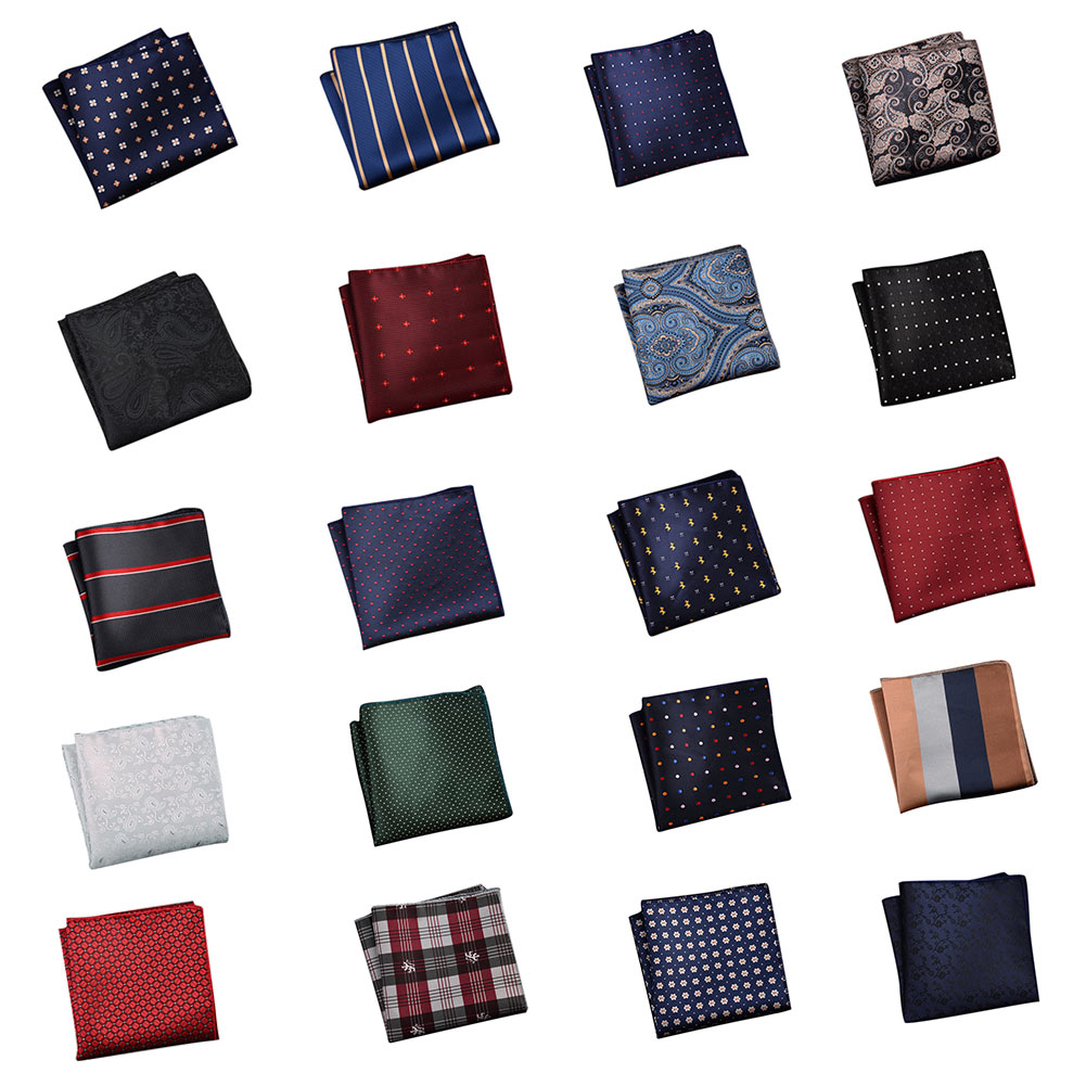 Men's Handkerchief  Striped Floral Printed Hankies Polyester Business Pocket Square Chest Hanky H9