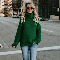 CWLSP 2018 NEW Sweater 6 Colors Solid Sweater Women Long Sleeves Turtleneck Casual Loose Tops Sweater