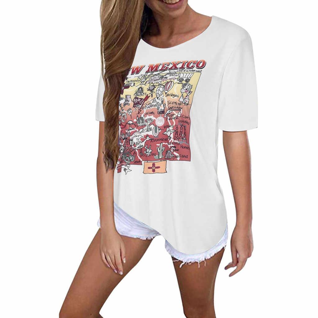 2019 Новое поступление Для женщин с О-образным вырезом футболка с коротким рукавом с принтом, пуловер футболка футболки для Для женщин топ Графический Женский shein