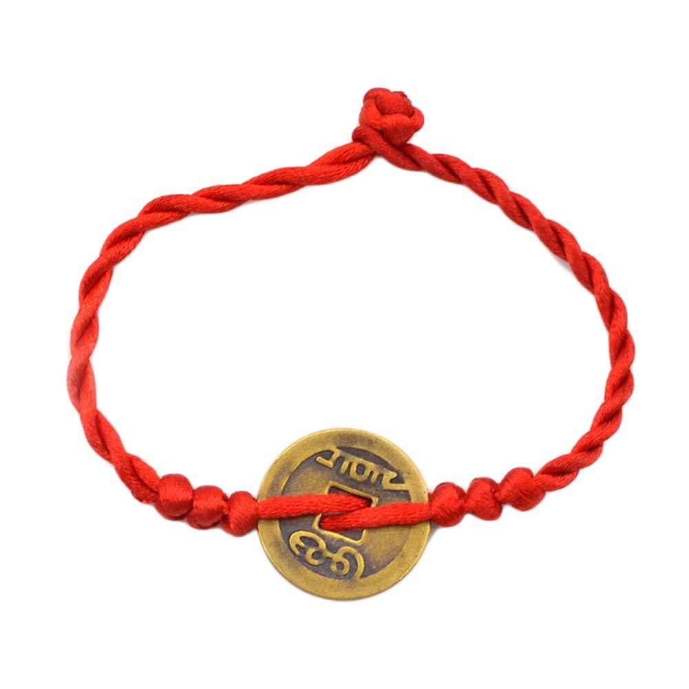 Ayarlanabilir kırmızı dize örgülü dostluk bilezikler erkekler kadınlar için bakır nakit paraları bilezik toptan