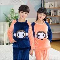 Child Home Sets Flannel Pajamas For Children Winter Boys Girls Coral Fleece Long Sleeved Warm Pyjamas