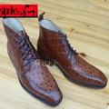 Люксовый бренд мужские goodyear welted сапоги тисненая кожа крокодиловой кожи, кожаная обувь итальянский ручной мужские кожи страуса обувь