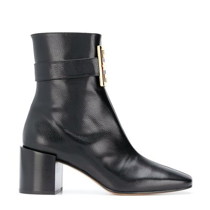 Genuine Leather Women's Boots Autumn Winter 2018 Ankle Boots for Women 6.5cm High Heel Shoes Metal Square Buckle Luxury Shoes aercourm a 2017 ankle boots women genuine leather shoes cowhide high heel shoes metal buckle brand shoes women zippe boots z958
