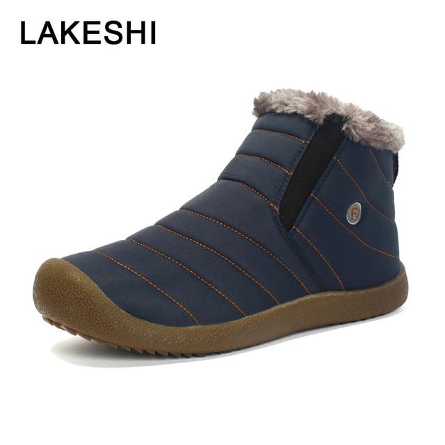 0b6b2ca55 Homens Botas de Inverno Tornozelo Botas Sapatos de Algodão Quentes Homem à prova  d' água