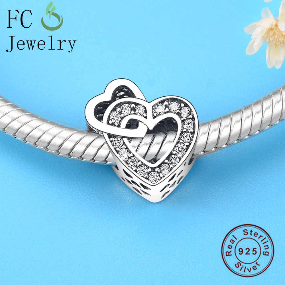7f0b8268a ... FC Jewelry Fits Original Pandora Charms Bracelets Authentic 925  Sterling Silver Two Hearts CZ Stone Crystal ...