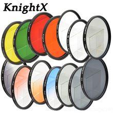 Knight tx – filtre de 24 couleurs bleu, pour nikon, canon, photo pro, accessoires de caméra, densité 24-70mm, objectif neutre uv 58