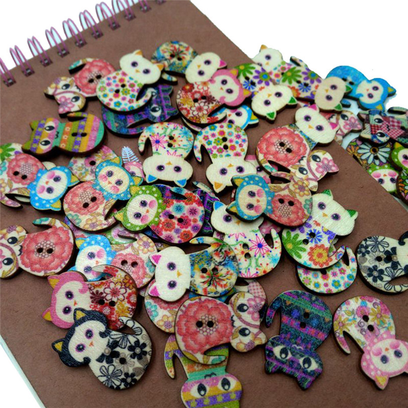 50PC Wooden Cute Cat Sewing Accessories Buttons 2 Holes Sewing Scrapbooking Crafts Sewing Accessories for Clothes Bags 40SP12 (4)