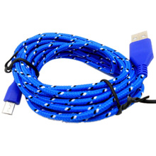 Popular 2M Braided Fabric Micro USB Data&Sync Charger Cable Cord For Cell Phone Blue