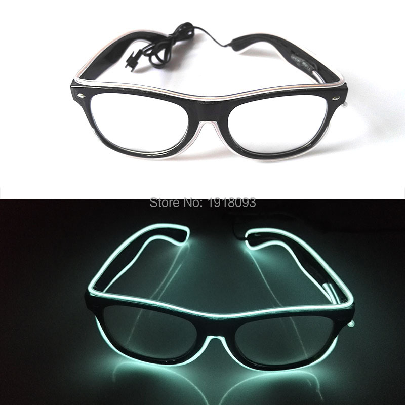 2017 Cheap Fashion Glowing EL Wire Sunglasses Color White With DC-3V Neon glow light Rave Costume Party DJ Bright Supplies