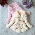 2015 Niños Del Invierno Engrosamiento Chaqueta Wadded prendas de Vestir Exteriores de La Muchacha Del Algodón Del Bebé de Coral Polar Tela Exquisita Wadded prendas de Abrigo