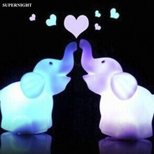 Mini Elephant LED Night Light Colorful Changing Night Lamp Cute Cartoon Animal Bedroom Bedside Lamp for Children Baby Kids Gift mini cartoon led night lights lamps cute pat fish cat light table lampe colorful led night lamp gift
