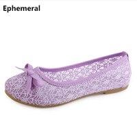 Oddychające oczek buty kobiet na mieszkania pani wygodne dorywczo nierób łuk miękkie sole buty fioletowy czarny max rozmiar 40 jazdy obuwie