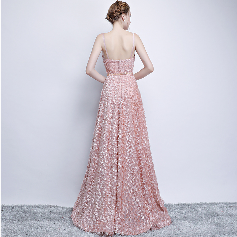 Pink Lace Sleeveless Spaghetti Straps Long Bridesmaid Dress 2