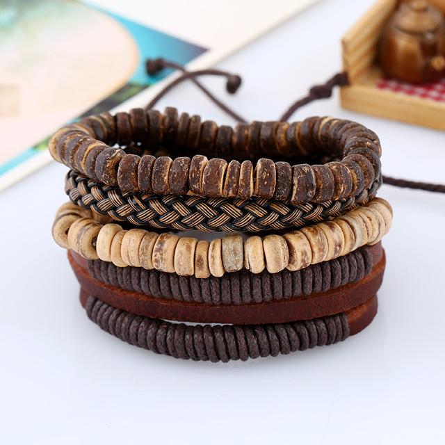 Handmade Beaded Bracelet Set with Braided Rope and Handmade Vintage Leather Bracelet