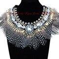 Joyería de Moda de lujo de Plumas Brillantes Crystal Babero Del Collar Del Encanto