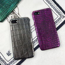 Luxury Crocodile Texture Pattern Phone Case for iPhone 7 8 6 6S Plus Hard PC Vintage Leather Back Cover for iphone X 7Plus Case vorson woven pattern leather coated pc back case for iphone 6s plus 6 plus grey