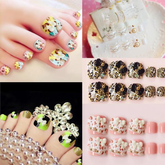 French False Toe Nails Artificial Acrylic Fake Toenail Tips Bowknot Leopard For Toes Beads
