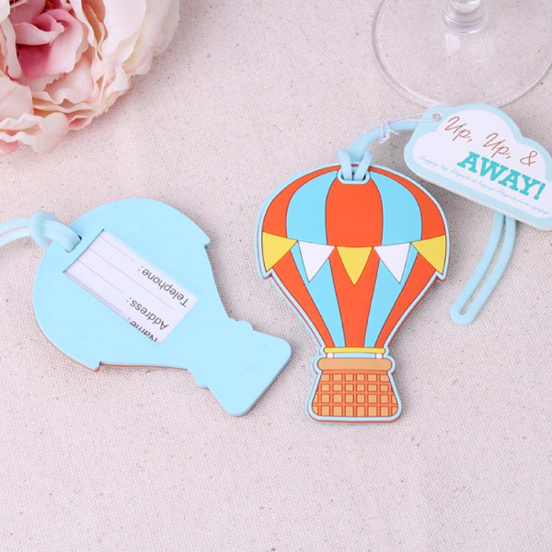 100pcs/Lot Travel Wedding Favors Up, Up & Away Hot Air Balloon Luggage Tag Wedding Baggage Tags Bridal Shower FREE SHIPPING