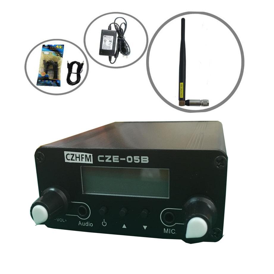 CZE-05B czh-05b  0.5w Fm transmitter PLL 76-108Mhz radio Broadcast rubber antenna kit 0 5w 500mw czh 05b cze 05b fm transmitter kit silver 1 4 wave gp antenna power supply