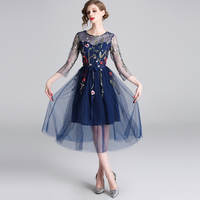HAMALIEL Embroidery Floral Mesh Party Dress 2019 Spring Women Fashion Tull Blue Midi Dress Fashion Noble Tie Bow Female Vestidos