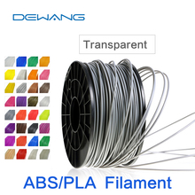 DeWang Transparent 1.75mm ABS 3D Filament printing 1kg/Roll Consumables for MakerBot/RepRap/UP/Mendel Free Shipping red color 1kg roll 3mm 1 75mm plastic pla filament 3d printer consumables material makerbot reprap up mendel