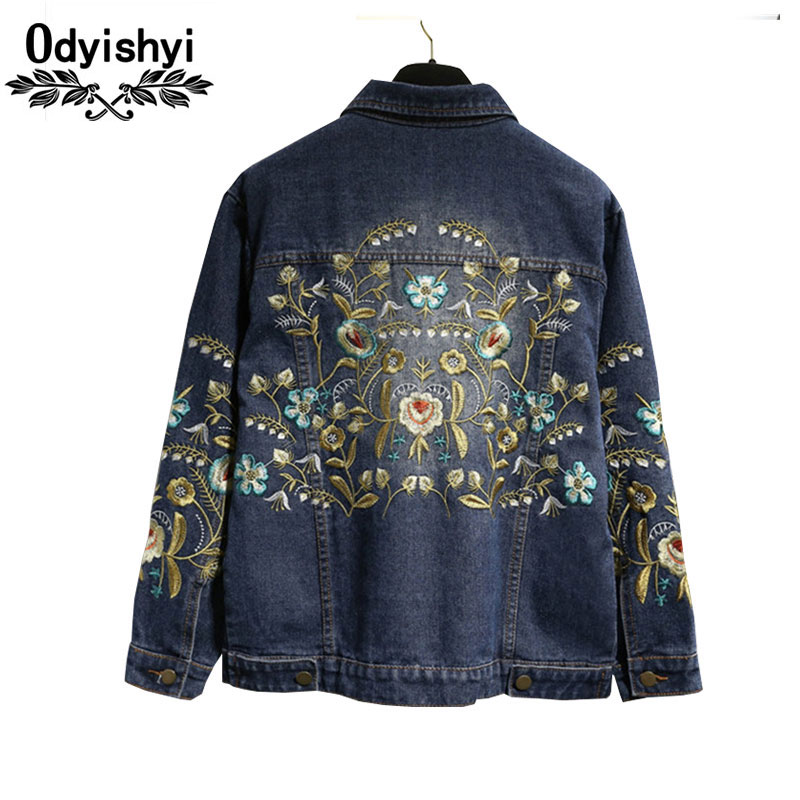 5XL Autumn Long sleeve Jeans Jacket Plus size Women New Dark Blue Embroidery Flower Befree Cowboy